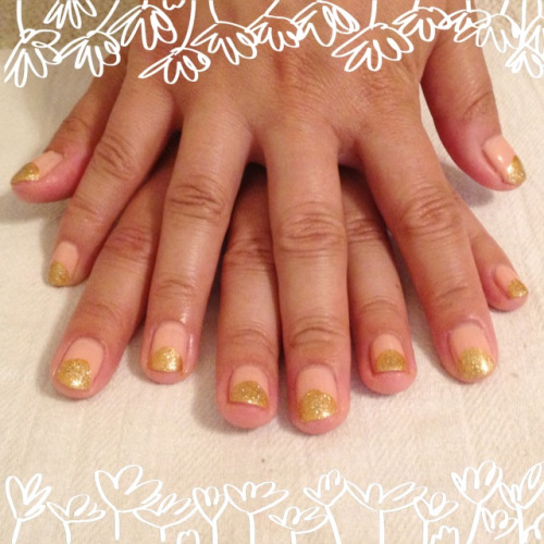 Tracy's goodbye Austin/hello NYC glittery-gold Ruffian mani