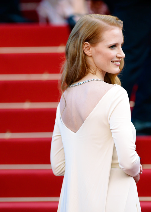 Jessica Chastain attends the 'Cleopatra' premiere during The 66th Annual Cannes Film Festival on May 21, 2013