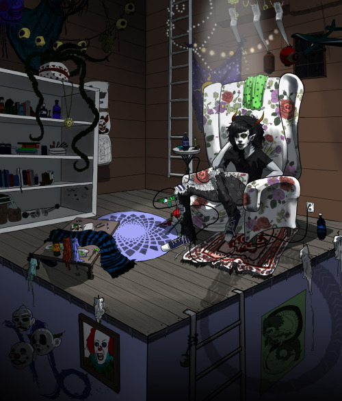 vinsteriousart:  Perspective assignment in full color.  Gamzee's hide out or something.
