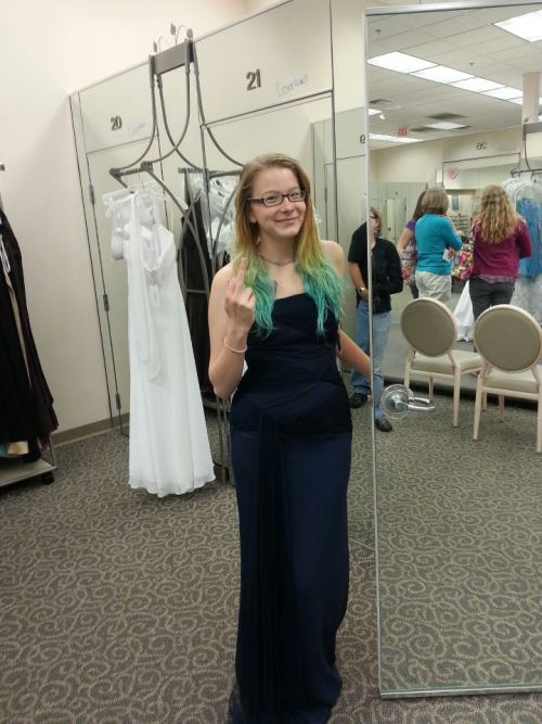 Prom dress shopping at David's Bridal- this isn't the dress that I got.   We went to a few more places and then went to Saks Fifth. I got a royal blue dress from there that I'm really exited about.