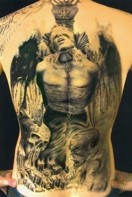 tattoomaniacs:  Hanged angle tattoo on back (via tattoomaniac.net)
