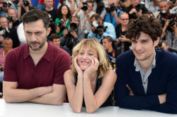 The strange threesome: Filippo Timi, Valeria Bruni Tedeschi and Louis Garrel, Cannes 2013