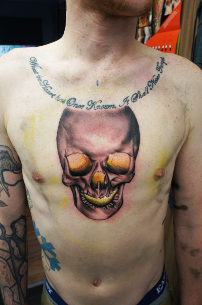 Start of a full chest piece, Gordon Patterson Inkwell tattoo studio