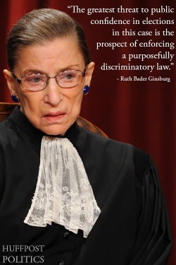 Read more from Supreme Court Justice Ruth Bader Ginsburg's scathing dissent on Texas' voter ID law here.