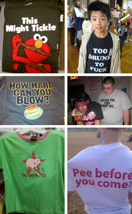 collegehumor:  17 Terrible Kid's Shirts That'll Make Parents Cry [Click for more] Prepare yourselves for these spring tees.   Kids.