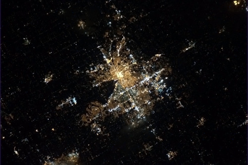 colchrishadfield:  Grand Rapids, MI, with the lights on, as-seen from 300 miles up.  Home :)