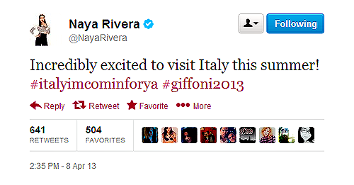 @NayaRivera Incredibly excited to visit Italy this summer! #italyimcominforya #giffoni2013.  Giffoni Article [x].