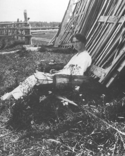 Grand Duchess Olga writing at Mogilev: 1916.