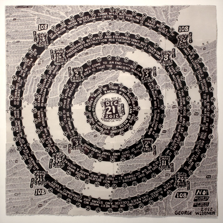 Artwork of the day: Magic Circle 12-21-2012, 2012 by George Widener   The shape and contents of this incredible circular calendar refer to the Mayan Calendar and the apocalyptic predictions derived from it, but a close reading shows that Widener does not seem to uphold the popular belief.
