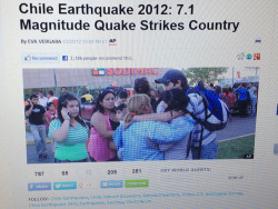 This 2nd pic is people hugging after the Chilean earthquake that had a 7.1 magnitude. Similarities between this and sandy was that it destroyed a lot of houses and boardwalks an power lines. Differences were that one was a lot of water and wind and the earthquake shook the ground a lot. ~Claudia
