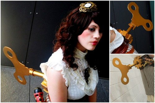 DIY Steampunk Windup Key Steampunk Doll Costume Tutorial from Cut Out + Key here. If you are mechanical and can figure this part out her key and cogs actually work.