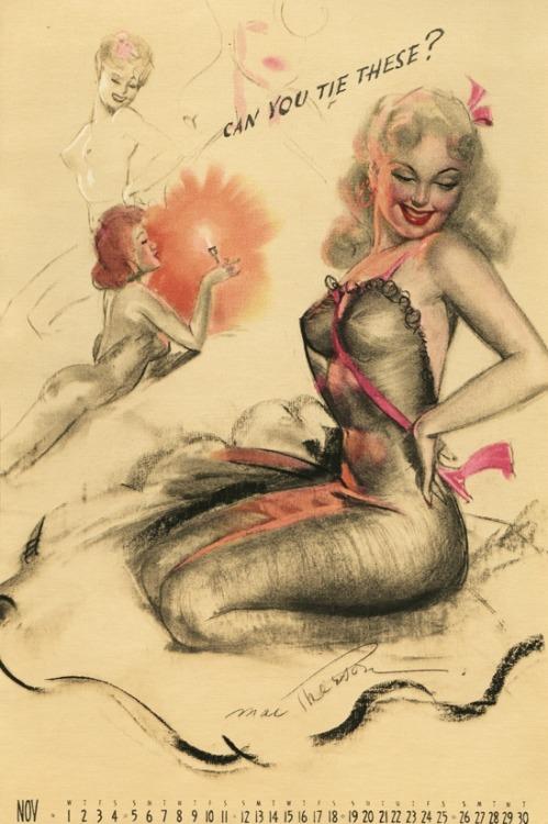 hoodoothatvoodoo:  Earl MacPherson Pin Up Calendar Illustration 1949