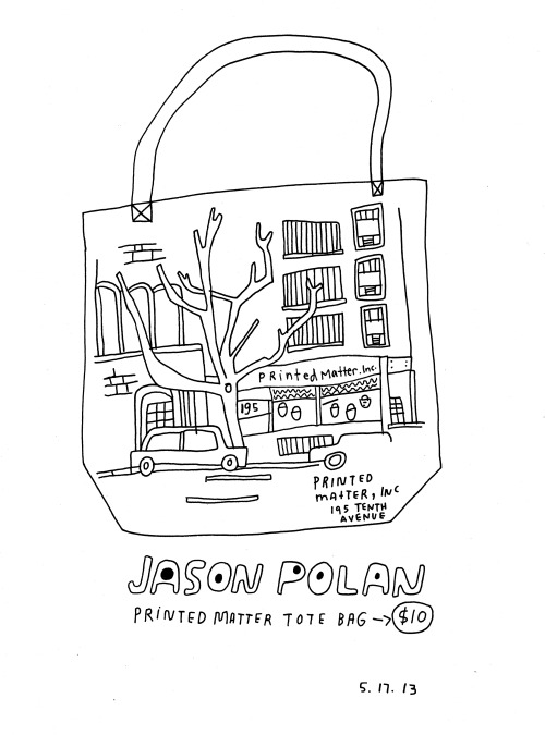 Daily Purchase Drawing for 05.17.13 My drawing of a Jason Polan Drawing on tote bag purchased at Printed Matter, INC.