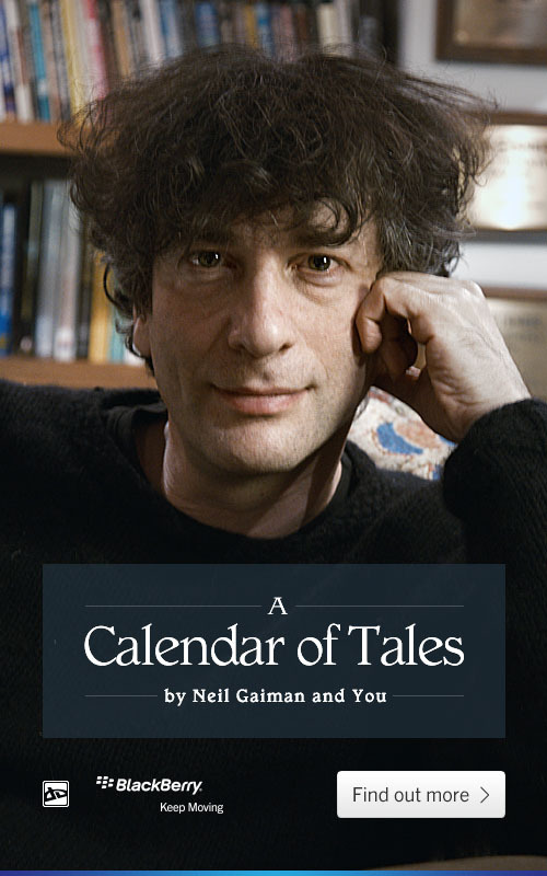 "neil-gaiman:  deviantart:  Neil Gaiman has teamed up with BlackBerry 10's revolutionary Keep Moving Project, asking your imagination to bring his series of short stories called ""A Calendar of Tales"" to life.  Contribute your work now to get a brand new badge and use an exclusive Neil Gaiman Journal Skin!  Really, you should do this, if you make art. I am really excited to see what people make in response to the stories…  So have to do this even though DevArt and I are not on the best of terms…also I love Neil's tag of #ART DAMMIT"