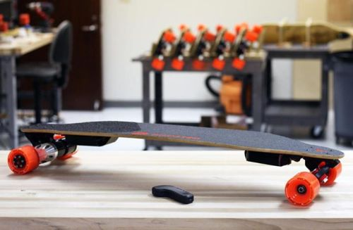 The Boosted Board is the world's lightest electric vehicle. It's a revolutionary combination of portability and power.   The skateboard can reach top speeds of 20 mph (32 km/h), has a range of 6 miles (10 km), and weighs between 12 and 15 pounds (5 and 7 kg). It's light enough to carry anywhere and fast enough to go everywhere.  Reserve yours today for a Fall 2013 delivery!  More details @ http://bit.ly/10TkrLz