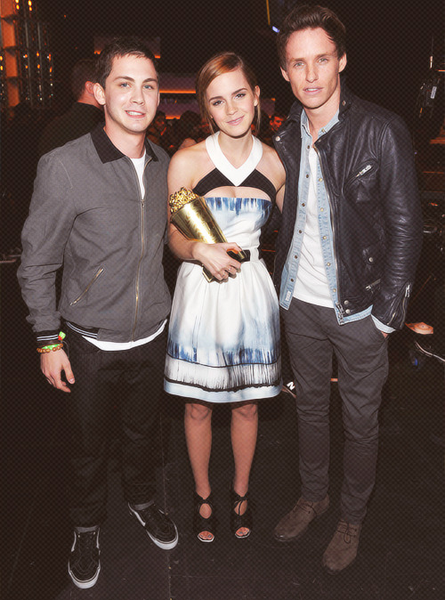 Logan Lerman, Emma Watson, Eddie Redmayne | 2013 MTV Movie Awards - Backstage [April 14,2013]