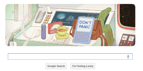 inothernews:  Google awesomely marks what would've been author Douglas Adams's 61st birthday and reminds us that the Hitchhiker's Guide to the Galaxy was, in fact, an e-book you could get on a Kindle.  :-)