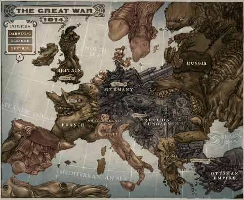 "The book Leviathan, set on the brink of WWI, contains an ""allegorical map"" displaying the political climate in Europe at the time. (click for bigger)   ""Germany is a massive military machine with weapons aimed outwards to all surrounding countries. It points threateningly at Britain, not so much as a sign of direct aggression, but more as an indicator that it was now Germany's turn to start a grand global Empire to challenge the world's current one. Britain is an militaristic lion beast with a Roman Imperial italic-type helmet. It sits upon a mound of riches gathered from its Empire. France's elephant beast is influenced by the Elephantine Collossus built for the Universal Exhibition of 1889 in Paris. It represents France's huge significance in WWI, which is something that tends to get a little glossed over. Russia is a huge imperialist bear, rotting from the inside, a prelude to its collapse during the war. It faces Germany, ready to defend itself. Austria/Hungary is an aggressive armoured giant, teetering on shoddy foundations. It is also the primary aggressor in a land grab against Serbia, with two bayonets piercing the border. The Ottoman Empire is a teetering automaton, collapsing under the weight of a paranoid and ungainly spying network that gazes at Europe through many lenses and spy glasses. The Swiss watch ticks away the time, comfortable to wait it all out. Serbia's imagery is an indicator of the huge amounts of civilian deaths and suffering they find themselves subjected to. Norway and Sweden are both Scandinavian trolls in the style of John Bauer, watching events unfold. Portugal is a parrot for the Entente trying to goad a slumbering Spain into the war. Ireland looks askance to Britain and brandishes a shillelagh. An indicator of their very rough relationship at the time, and of their upcoming involvement with the Central powers. Italy is a clutch of snakes with intents on the Central powers despite existing agreements."""