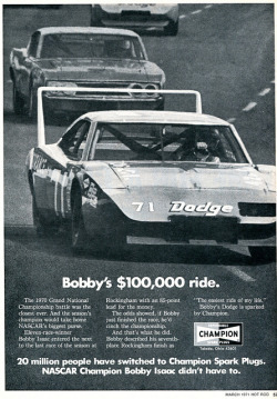 chromjuwelen:  1971 Champion Spark Plugs Bobby Isaac Advertising Hot Rod Magazine March 1971 by SenseiAlan on Flickr. 1971 Champion Spark Plugs Bobby Isaac Advertising Hot Rod Magazine March 1971