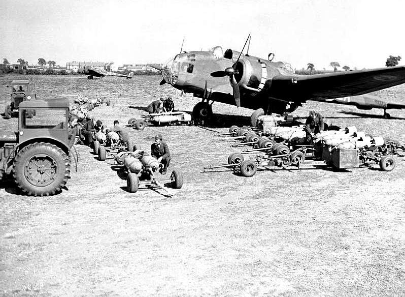 A Handley Page Hampden of No. 49 Squadron being 'bombed up' at Scampton, June 1940. Germany's synthetic oil industry, based on the nation's plentiful supplies of coal, was already a priority objective, but Bomber Command lacked the strength to do any serious damage. Early RAF raids involved small numbers of aircraft being despatched against several targets over the space of a night. The majority missed their objectives by miles. On the night of 16-17 August this aircraft failed to return from a raid against the Leuna petroleum works at Merseburg. From HERE