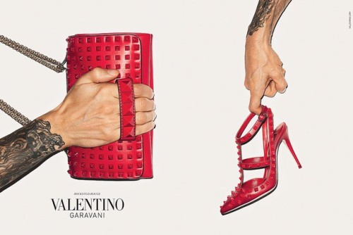 Valentino's F/W '13 campaign featuring Terry Richardson's arm+hand showing off the Rockstud Rouge and Rockstud Noir heels+handbags.  [source]