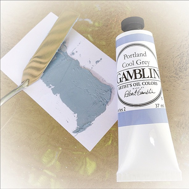 Loving the new Portland Cool Grey color just released from @gamblincolors! The Portland Greys are among their top selling colors, and they've extended the line by adding the Portland Cool Grey. The dusty blue and mauve are less subtle than the new whites.  These greys & the titanium buff, are spaced pretty evenly on the color wheel. So they can be used as a pretty amazing muted primary pallet.  #warholianapproved #paint #gamblincolors #portlandcoolgrey #gamblin #oilpaint #painting
