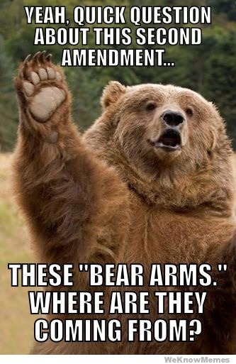 georgetakei:  The answer could be a grizzly tale.  I'm still for leveling the playing field: Arm the bears with thermal tracking computer aiming .30 caliber guns. Or, you know, drones. Your way isn't very sportsmanlike, sportsman…