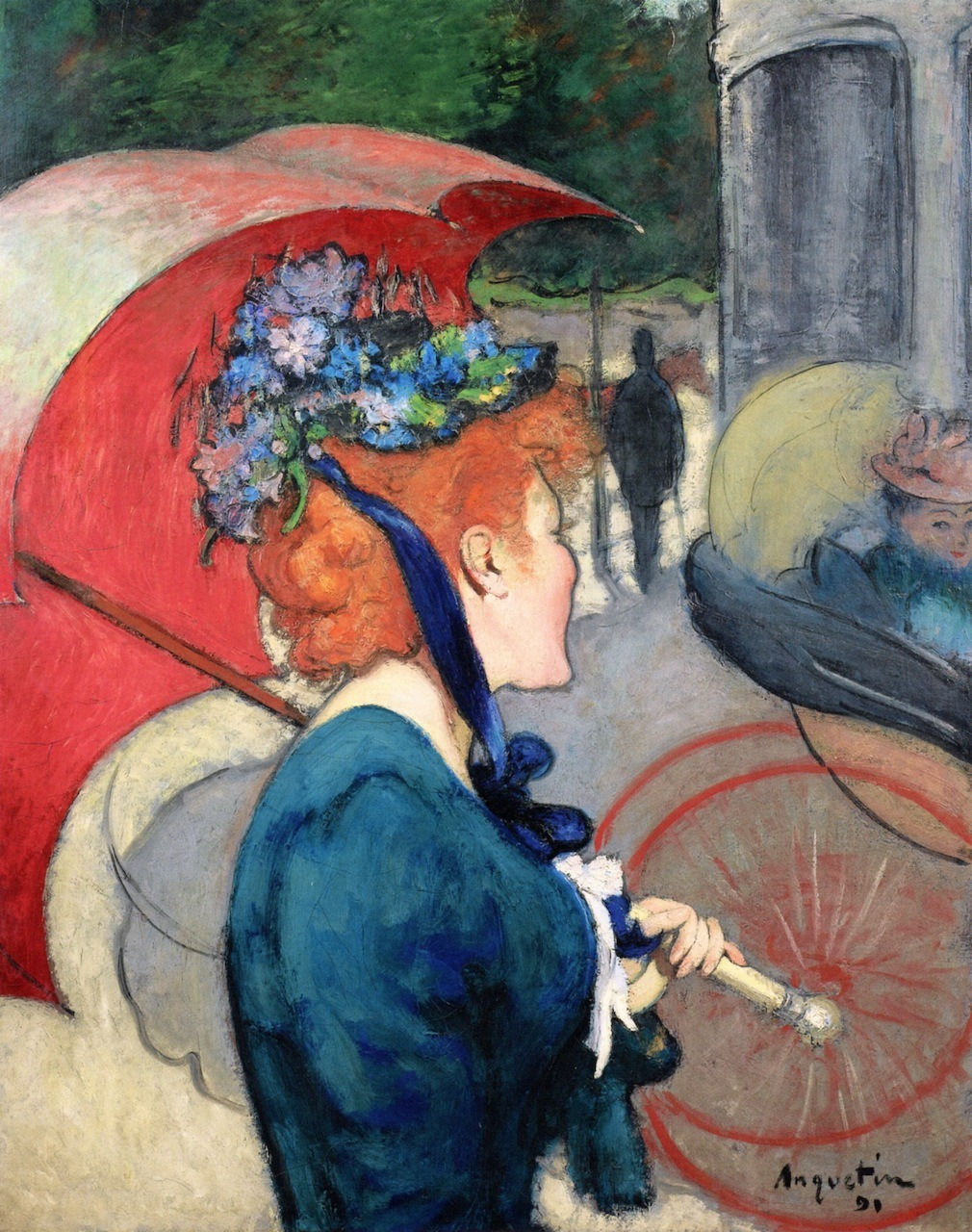 opthalite:  fleurdulys:  Woman with Umbrella - Louis Anquetin  1891