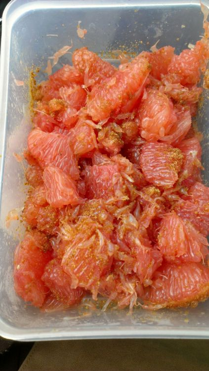 Simple lunch:As many grapefruits as you want, precleaned at home. I had 4 and was contentedly full afterwards. Take off the membrane and peel at home and sprinkle with some palm sugar. It makes a delicious, tart/sweet, super rehydrating lunch. Grapefruit has seemingly endless benefits for our flesh machines. Low glycemic, high in vit. C and vit. A, helps balance metabolism, burns fat, high in fiber and a source of omeg 3/ omega 6. http://nutritiondata.self.com/facts/fruits-and-fruit-juices/1905/2 . Palm sugar as well is a vitamin rich, low glycemic sweetener that your body will love you for eating. Enjoy - Isaac