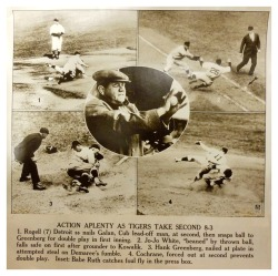 Action Aplenty As Tigers Take Second 8-3 Babe Ruth At The World Series - Detroit - October 3, 1935