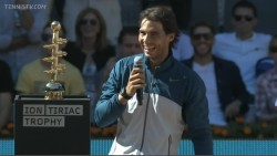 kingofclay:  During the trophy ceremony Rafa started to speak in english until he realised that he could actually speak in spanish here lol
