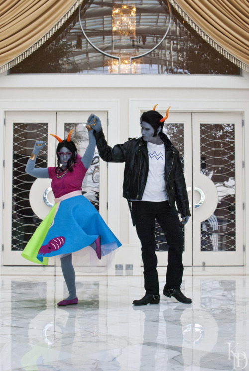 50s stucks! Cronus Ampora / Feferi Peixes / Photog This was our attempt at recreating this fanart, from askcr0nus! Feferi's 50s stuck design is from askcuttlefishculler. I really loved this picture as soon as I saw it and wanted to make it happen cosplay wise! It's not exact but we tried! Hope you guys like! Thank you to the original artists of both blogs! <3 and I am done cosplay spamming tonight now! Promise!