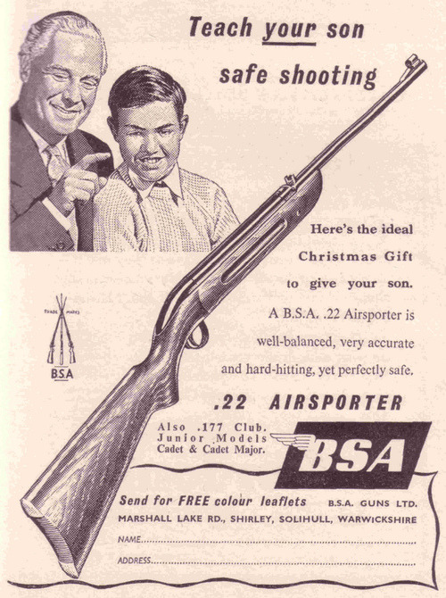 "mudwerks:  vntgkills:  ""Teach your son safe shooting"" BSA (1957)  even if he is clearly a mutant…"