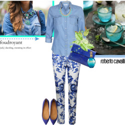 Dazzling! by stream featuring a long sleeve denim shirt ❤ liked on PolyvoreONLY long sleeve denim shirt, $25 / Roberto Cavalli patterned legging, $710 / Flat shoes, $300 / Angel Jackson , $390 / BaubleBar turquoise necklace / roberto cavalli, $180