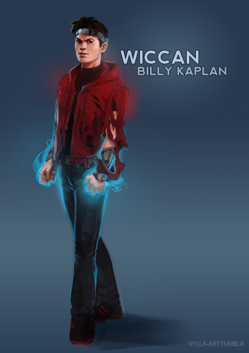 vylla-art:  Billy Kaplan: Wiccan - 10/46 I like Billy's costume so much I couldn't figure out another version of it for an MCU setting. Instead I decided to break it down to something really simple. So, consider this pre-mighty morphin' time. Same colors, but the full suit comes later. Also I've decided magic is caustic and the perpetually torn cape thing isn't an accident.