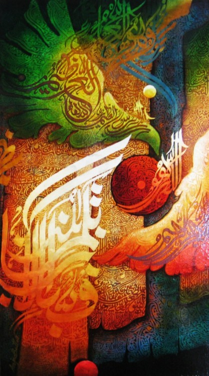 "indigenousdialogues:  Pakistani painter, Amjad ButtOil on board40"" x 22"""