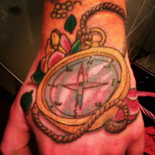 Hand finished #tattoo #compass #hand #pirate