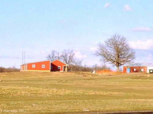 Red barn. Afternoon. Wind. April 8, 2013.