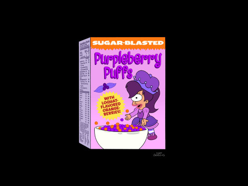 "Countdown to Futurama: Purpleberry Puffs Cereal If you're not old enough to start eating Bachelor Chow, might I interest you in some sugar-blasted Purpleberry Puffs? This is another image from the upcoming episode ""Saturday Morning Fun Pit,"" featuring the Planet Express crew in three Saturday morning-style cartoons. Futurama returns June 19 at 10/9c."