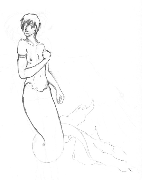 mermaid boy.  the tail was drawn really lightly, so i tried to make it more visible??