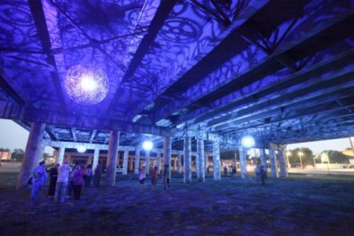 laughingsquid:  Ballroom Luminoso, San Antonio Overpass Illuminated by Globes Made of Recycled Bike Parts