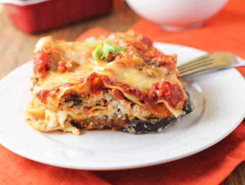 fattributes:  Eggplant Parmesan Lasagna  The awesome thing about eggplant lasagna is you can either do it like this, where the eggplant is replacing the meat so it's a hearty vegetarian meal, or you can substitute it for all or some of the lasagna noodles so it lowers the carbs and calories. Both ways are very tasty.