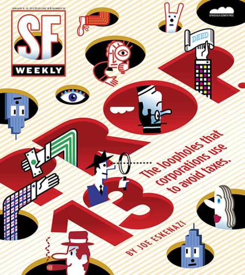 SF Weekly, January 4, 2012Art director: Andrew J. NilsenIllustration: David Flaherty
