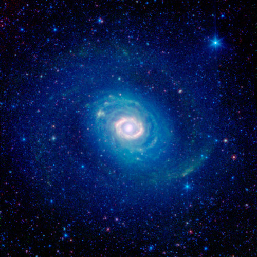 "Messier 94: Galactic Wheels within Wheels     How many rings do you see in this striking new image of the galaxy Messier 94 (NGC 4736) as seen by the infrared eyes of NASA's Spitzer Space Telescope? While at first glance one might see a number of them, astronomers believe there is just one.      Historically, Messier 94 was considered to have two strikingly different rings: a brilliant, compact band encircling the galaxy's core, and a faint, broad, swath of stars falling outside its main disk.      Astronomers have recently discovered that the outer ring, seen here in the deep blue glow of starlight, may actually be more of an optical illusion. Their 2009 study combined infrared Spitzer observations with ultraviolet data from NASA's Galaxy Evolution Explorer, and ground-based surveys in visible (Sloan Digital Sky Survey) and near infrared light (Two Micron All Sky Survey). This more complete picture of Messier 94 indicates that we are really seeing two separate spiral arms that, from our perspective, take on the appearance of a single, unbroken ring.      The bright inner ring of Messier 94 is very real, however. This area is sometimes identified as a ""starburst ring"" because of the frenetic pace of star formation in this confined area. Starbursts like this can often be triggered by gravitational encounters with other galaxies, but in this case may instead be caused by the galaxy's oval shape.      Tucked in between the inner starburst ring and the outer ring-like arms we find the galaxy's disk, striated with greenish filaments of dust. While, at first glance, these dusty arcs look like a collection of rings, they actually follow tightly wound spiral arcs.      Messier 94 is about 17 million light years away, making it a distant neighbor of our own Milky Way galaxy. It was first discovered by Charles Messier's assistant, Pierre Méchain, in 1781 and was added to  his supervisor's famous catalog two days later."