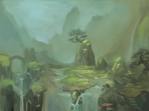 ninjaticsart:  Painted it last night, taking breaks from commission… no solid concept, i just keep adding something as i go along lol