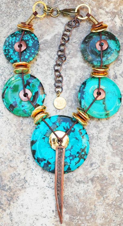 Aztec: Bold and Exotic Turquoise, Gold and Copper Disc Pendant Necklace Click to buy