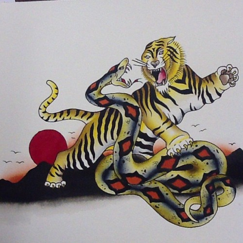 repaint fun! For sale. #flash #flashsheet #tattoo #tattoos #tattooflash #tiger #snake