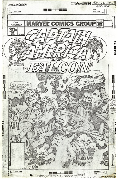 "Full size photocopy of the pencil art for the cover to Captain America 212, dated August 1977.Kirby's copy: Captain America: ""I'll find you, Red Skull! And when I do—! Red Skull: ""It will be too late! Hah Hah!"" Title: ""The face of a hero!"" Caption: ""At the mercy of a hated enemy!"" Printed copy: Caption: ""Captain America - - Blind… at the mercy of the Red Skull!"" Red Skull: """"You cannot save yourself from what you cannot see!"" Title: ""The eyes of a hero!"""