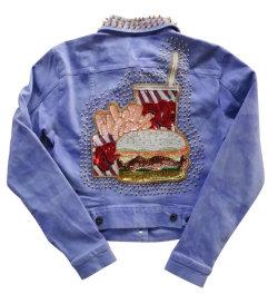 food vintage Grunge etsy top Denim fries burger studded jacket Harajuku space grunge fachin