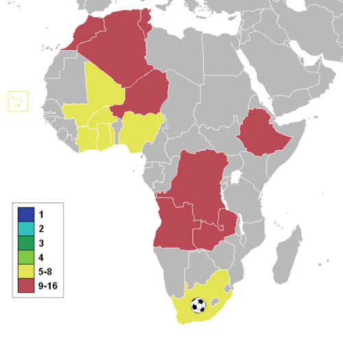 A map showing the countries that have made it to the quarterfinals (yellow) of the Africa Cup of Nations tournament. They are: Mali South Africa Cape Verde Cote D'Ivoire/Ivory Coast Nigeria Ghana Burkina Faso Togo South Africa is the only country outside of West Africa to make it to this stage.